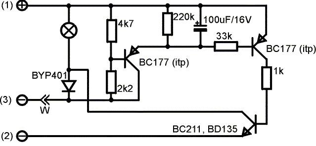 Вместо ВС177 - КТ361, ВС211 - КТ819Г.  Конденсатор 50 мкф - задержка 6 сек + плавное выключение в течении седьмой и...